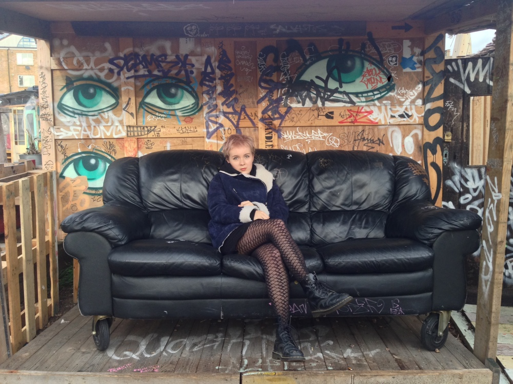 Girl in a sofa, nomadic garden in shoreditch