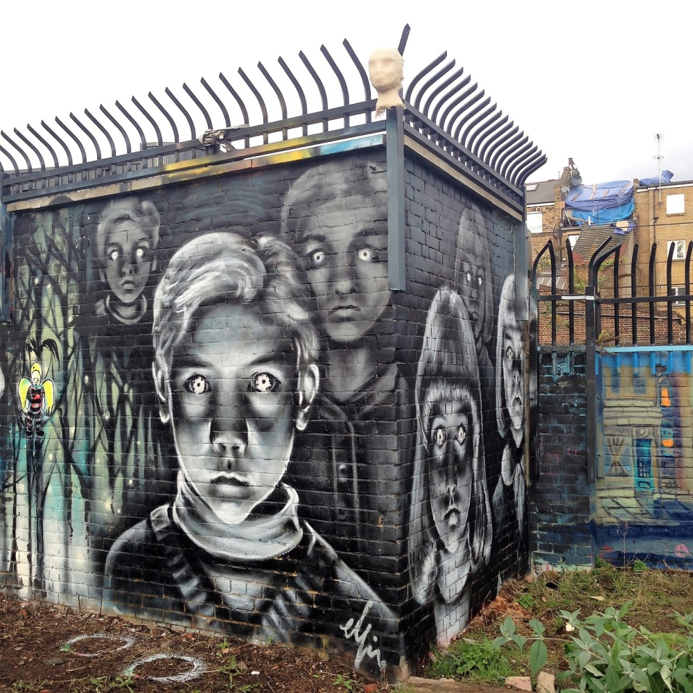 Wall art in Nomadic garden, London