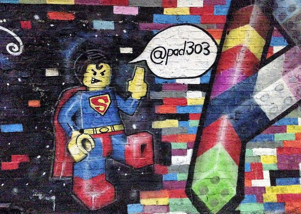 Lego street art in Banksy Tunnel