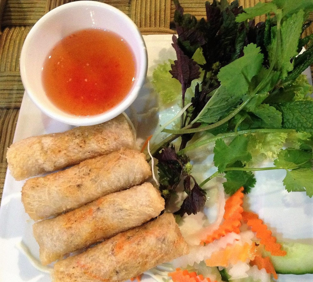 Spring rolls on a vietnamese restaurant Mien Tay in London